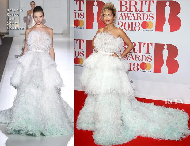 Rita Ora In Ralph & Russo Couture - The BRIT Awards 2018 ...