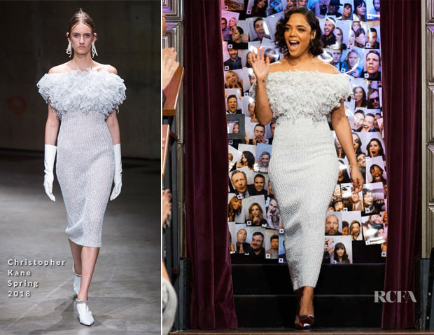 Tessa Thompson In Christopher Kane - The Late Late Show with James Corden