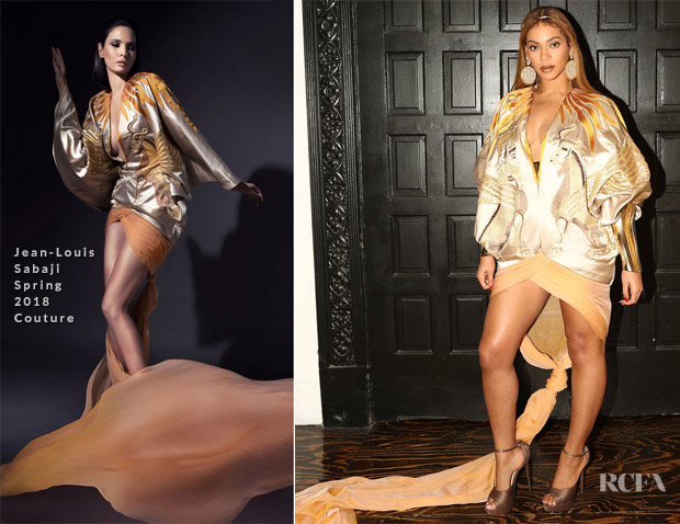 Beyonce Knowles In Jean-Louis Sabaji Couture - Wearable Art Gala