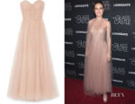 Brie Larson's Monique Lhuillier Ruched point d'esprit Tulle Gown