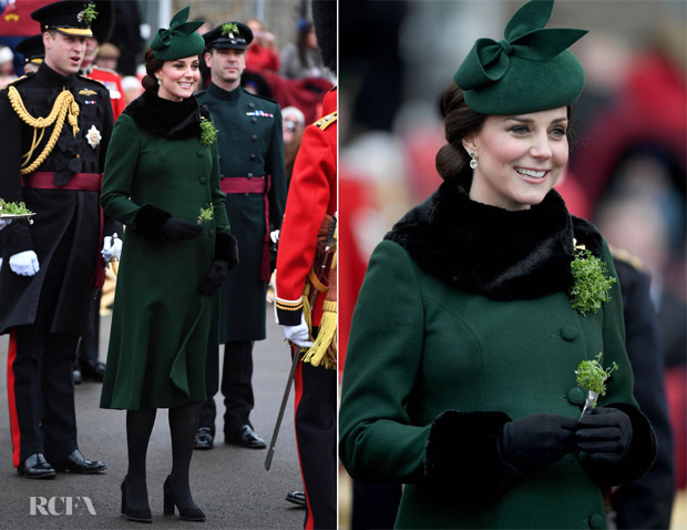 Catherine, Duchess Of Cambridge In Catherine Walker - The Irish Guards St Patrick's Day Parade