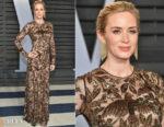 Emily Blunt In Alexander McQueen - 2018 Vanity Fair Oscar Party