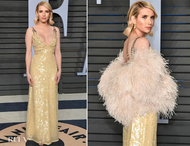 Emma Roberts In Prada 2018 Vanity Fair Oscar Party Red Carpet Fashion Awards