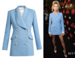 Hailey Baldwin's Alessandra Rich Double-Breasted Swarovski Button Blazer