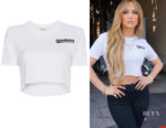 Jennifer Lopez Off-White 'Woman' Slogan Crop T-Shirt