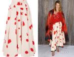 Laura Dern Calvin Klein Printed Silk Skirt