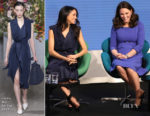 Meghan Markle In Jason Wu and Catherine, Duchess of Cambridge In Seraphine - Royal Foundation Forum