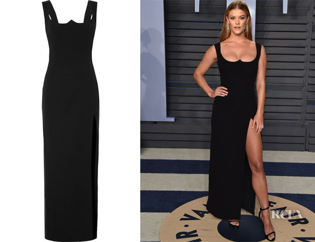 Nina Agdal S Versace Vanity Fair Oscar Party Black Gown