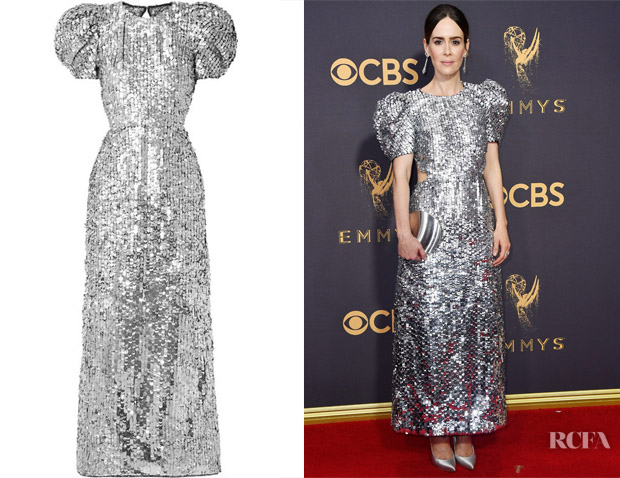 Sarah Paulson's Carolina Herrera Open-Back Silver Sequined Gown