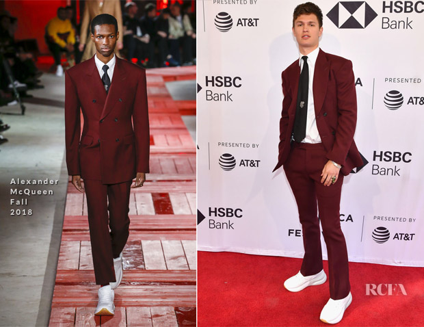 Ansel Elgort In Alexander McQueen & Violetta Komyshan In Givenchy - 'Jonathan' Tribeca Film Festival Premiere