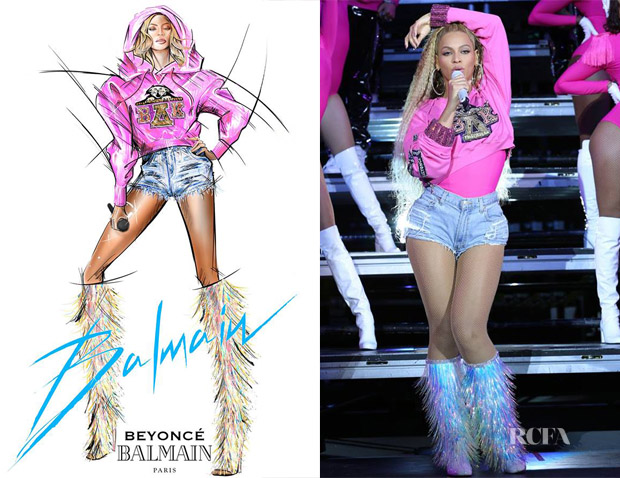 Beyonce Knowles Wore Five More Custom Balmain Looks During Her Second Coachella Performance