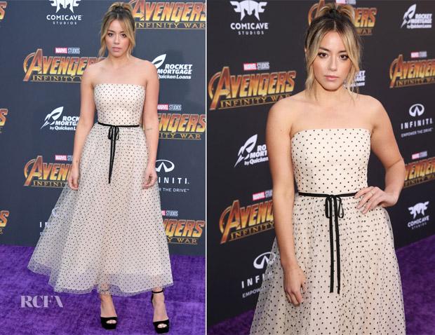Chloe Bennet In Monique Lhuillier - 'Avengers: Infinity War' LA Premiere