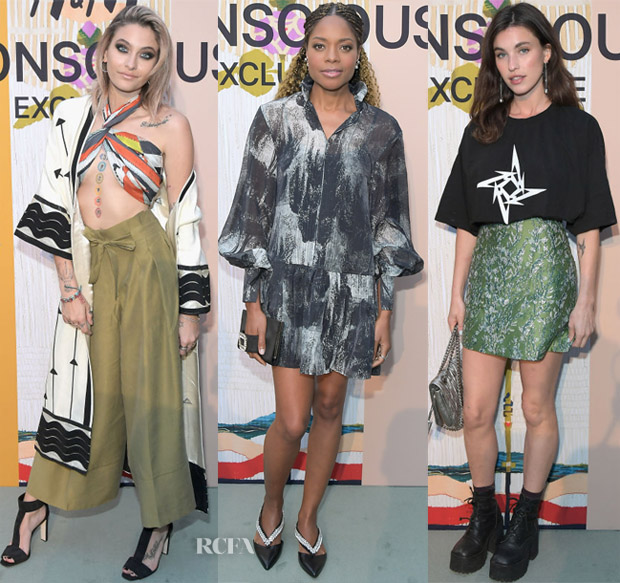 df96a46059e1d Paris Jackson: The model embraced her bohemian side in separates. She  showed off her tattoo collection in a twisted scarf top and wide-leg pants.