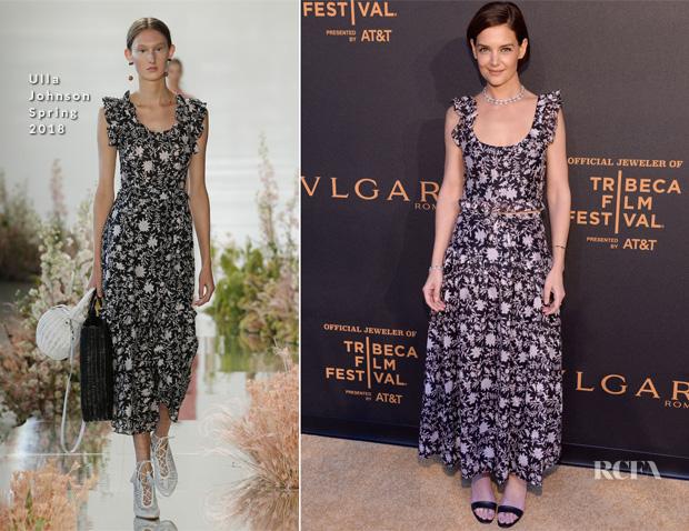 Katie Holmes In Ulla Johnson – BVLGARI World Premier Screening At 2018 Tribeca Film Festival