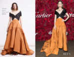 Lily Collins In Reem Acra - Cartier Mid-Winter Gala