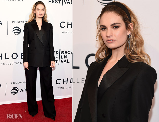 Lily James In Burberry Tailoring - 'Little Woods' Tribeca Film Festival Premiere