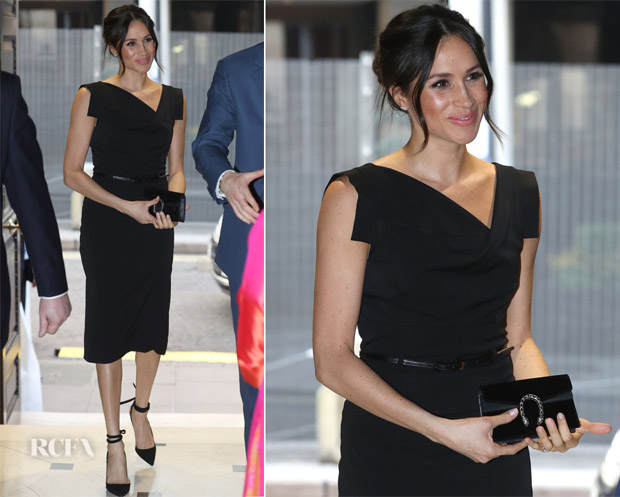 a2f4bdf8c36 Meghan Markle In Black Halo s Popular Jackie O Dress - Red Carpet ...