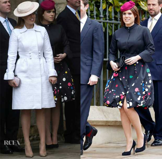 Princess Beatrice In Suzannah   Princess Eugenie In Oscar de la Renta –  Easter Service 1dae5fb9364
