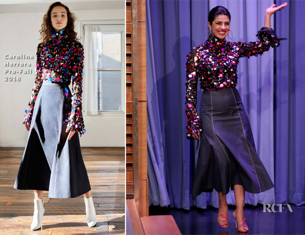 Priyanka Chopra In Carolina Herrera, Prabal Gurung, Christopher Bu, Vivienne Westwood - The Tonight Show Starring Jimmy Fallon, Good Morning America, Live With Kelly & Ryan & Build Series