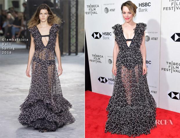 Rachel McAdams In Giambattista Valli - 'Disobedience' Tribeca Film Festival Premiere