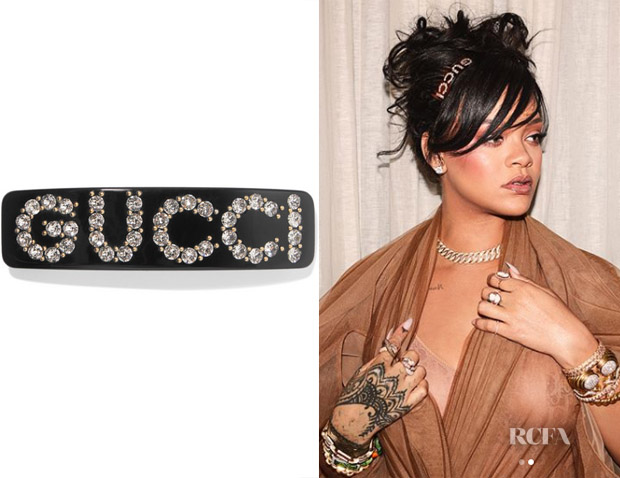 37f84c00621 Rihanna's Gucci Acetate and Crystal Hair Slide - Red Carpet Fashion ...