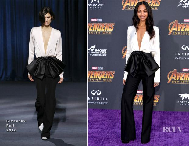 Zoe Saldana In Givenchy - 'Avengers: Infinity War' LA Premiere