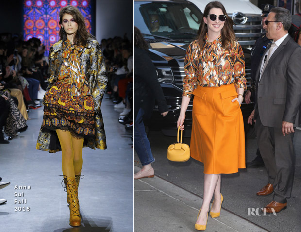 Anne Hathaway In Anna Sui & Rochas -  The Late Show With Stephen Colbert