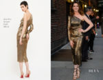 Anne Hathaway In Martin Grant & Bottega Veneta - The Late Show With Stephen Colbert & Out In New York City