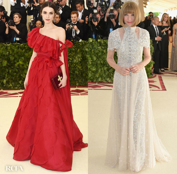 bee shaffer in valentino couture anna wintour in chanel couture 2018 met gala red carpet. Black Bedroom Furniture Sets. Home Design Ideas