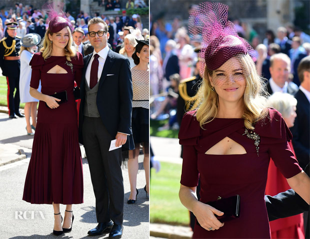 f0531d0d8 Jacinda Barrett and 'Suits' actor Gabriel Macht joined the Beckhams at St  George's Chapel in Windsor Castle for the royal wedding of Prince Harry to  Meghan ...