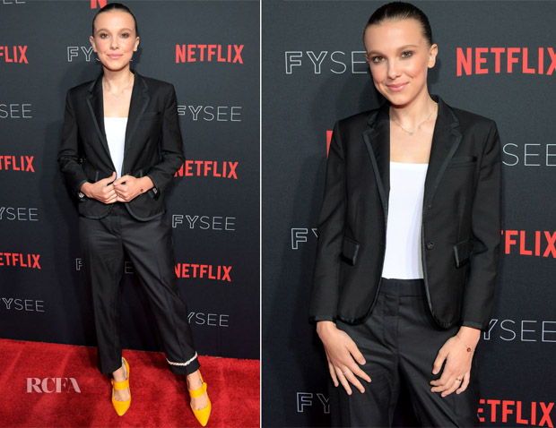 Millie Bobby Brown In Thom Browne - 'Stranger Things 2' Panel At Netflix FYSEE