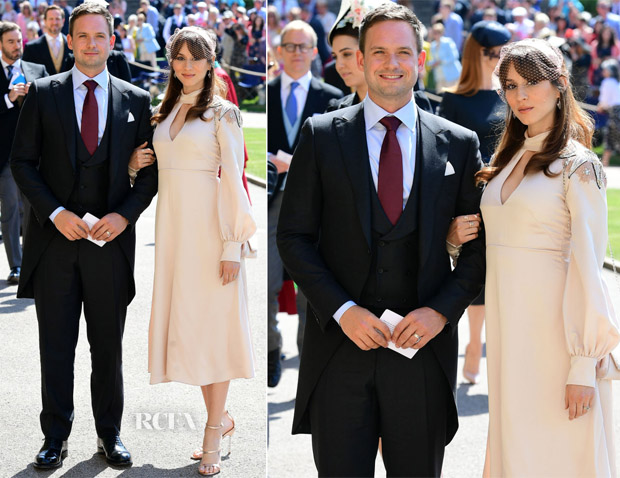 Patrick J. Adams In Canali & Troian Bellisario In Temperley London - Prince Harry & Meghan Markle's Royal Wedding