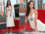 Zoe Saldana In Miu Miu - On The Hollywood Walk Of Fame Unveiling