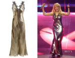 Kylie Minogue's Maria Lucia Hohan Gold Lamé Slip Dress