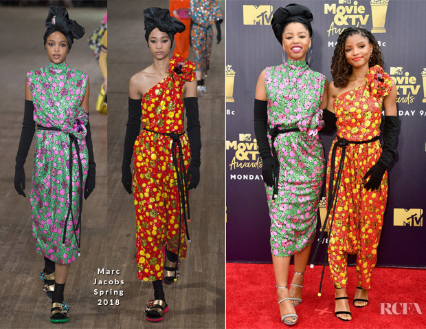 Chloe Bailey & Halle Bailey In Marc Jacobs - 2018 MTV Movie And TV Awards