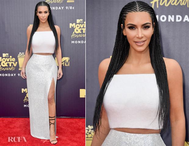 739bb7945c1 Kim Kardashian In Atelier Versace - 2018 MTV Movie And TV Awards ...