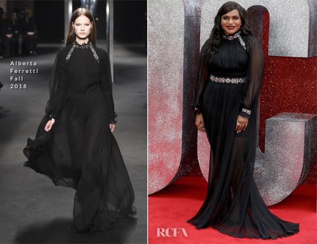 Mindy Kaling In Alberta Ferretti Ocean S 8 London Premiere Red Carpet Fashion Awards