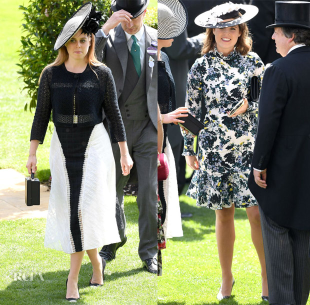 Princess Beatrice In Jonathan Simkhai &  Princess Eugenie In Erdem - Royal Ascot