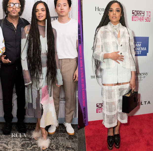 Tessa Thompson In Tingyue Jiang & Thom Browne -  Build Series & 'Sorry To Bother You' New York Premiere