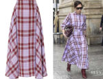 Victoria Beckham's Victoria Beckham Pleated Checked Skirt