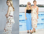 Amanda Seyfried In Veronica Beard & Lily James In Brock Collection - 'Mamma Mia! Here We Go Again' Hamburg Photocall