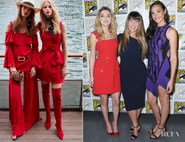 4c06243bc17a Amber Heard In Elie Saab & Gal Gadot In David Koma - Comic-Con 2018 - Red  Carpet Fashion Awards