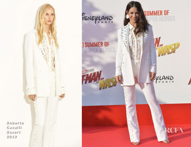 Evangeline Lilly In Roberto Cavalli - 'Ant-Man And The Wasp' Paris Premiere