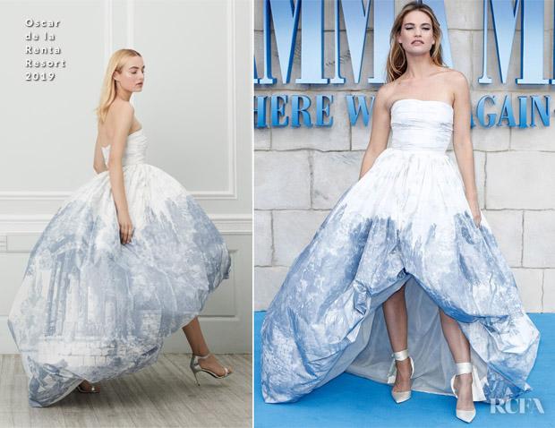 Lily James In Oscar de la Renta - 'Mamma Mia! Here We Go Again' World Premiere