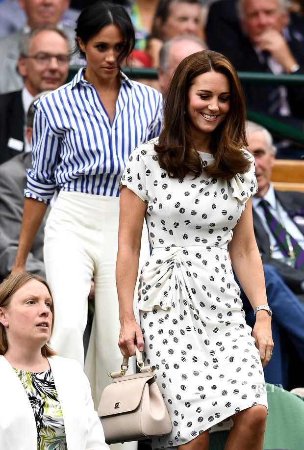 Meghan, Duchess of Sussex In Ralph Lauren & Catherine, Duchess of Cambridge In Jenny Packham - Wimbledon Championships