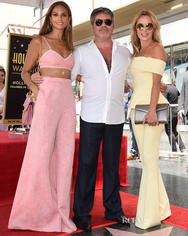 Alesha Dixon In Miguelina & Amanda Holden In SAFiYAA - Simon Cowell's Star On The Hollywood Walk Of Fame Ceremony