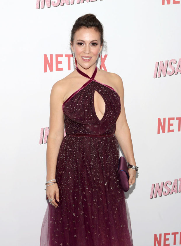 Alyssa Milano In Marchesa - Netflix's 'Insatiable' Season 1 Premiere
