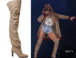 Beyonce Knowles' Gucci Lisa Logo-Jacquard Over-The-Knee Boots