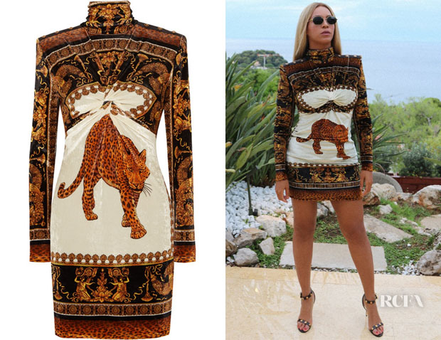 Beyonce Knowles' Versace Printed Velvet Dress