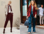Blake Lively In velvet Brunello Cucinelli - Out In New York City
